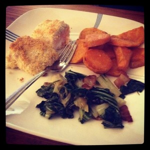Coconut Crusted Salmon, Sweet Potato & Bok Choy w/ Bacon