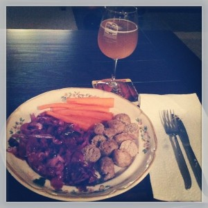 Grapefruit Meatballs, Red Cabbage, Carrots & Kombucha