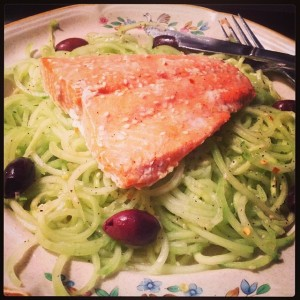 Salmon, Cold Cucumber Noodles & Olives